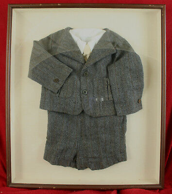 FRAMED Fine ANTIQUE Boy's Child's VICTORIAN WOOL SUIT Shirt Tie Jacket Knickers
