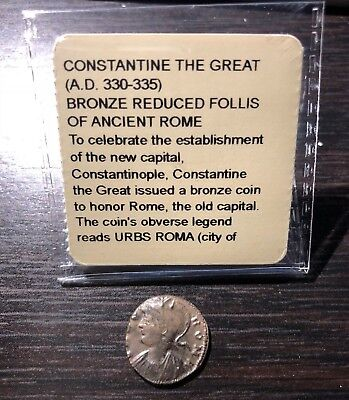 Genuine Constantine The Great Bronze Reduced Follis Ancient Rome (A.d. 330-335)