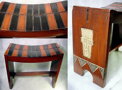 African HEADREST Table STOOL Seat BENCH Wood GHANA Art FURNITURE Black AFRICA
