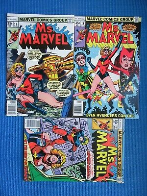 Ms Marvel # 17, 18, 19 - (Vf) - 1St Mystique, Ms Marvel Origin, Captain Marvel
