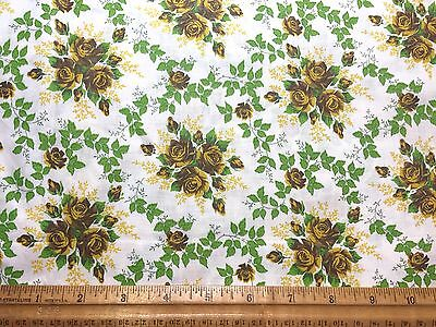 Vintage Cotton Fabric 40s50s PRETTY Rose Bouquets 36w 1.5yds