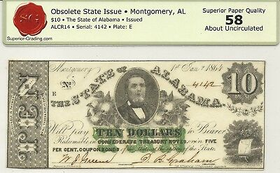 1864 State Of Alabama Civil War $10 Currency ~ Governor Watts ~ Choice Abt New