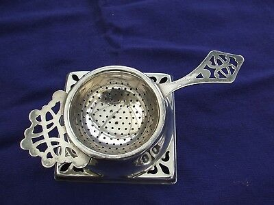 Vintage Tea Strainer With Stand