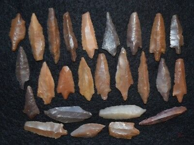 25  Mesolithic and later uni-facial and bi-facial stone blades/tools