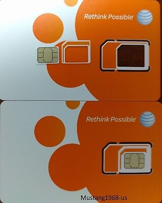 AT&T UNLIMITED 4G LTE data option, triple cut simcard