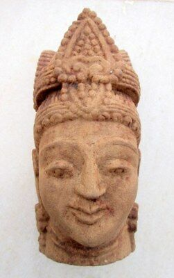 Antique Old Beautiful Hand Carved Sand Stone Hindu goddess Head Face Bust Statue
