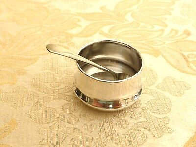 Vintage Silver Plated Round Salt Pot With Salt Spoon   1360367/369