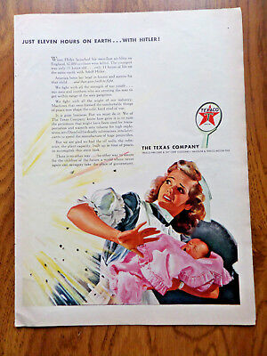 1943 Texaco Gas Oil Texas Ad WW 2 Just Eleven Hours on Earth with Hitler