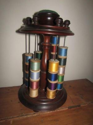 Quality Antique Thread Spool Stand with Pin Cushion Turned Wood