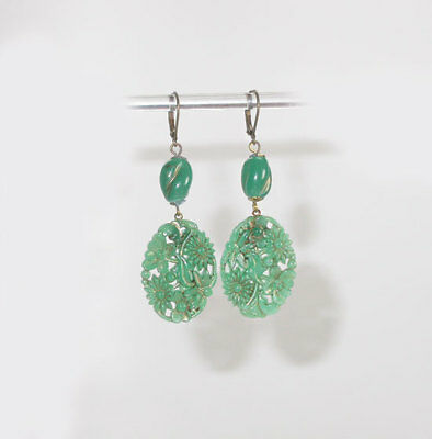 Vtg Art Deco Floral Embossed Peking Jade Art Glass Dangle  Earrings!