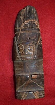 Interesting heavy wood anthropromorphic carving of a person or idol(?)