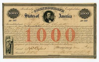 1861 Cr.4 Ball 16 $1000 The Confederate States of America War Bond AU