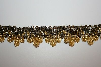 Luxury Gold & Black Metallic  Scalloped Edge Vintage Braid Trim-Just under 3m