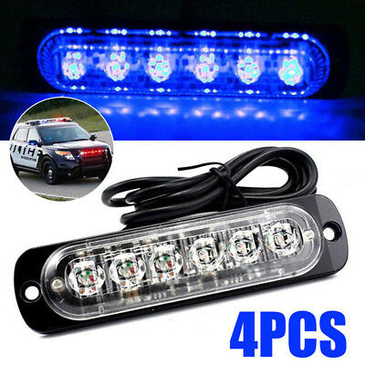 4 Sets 6LED 18W Ultra Slim Car Truck Warning Hazard Flash Strobe Light Lamp Bar