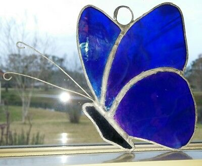 "Beautiful Blue Butterfly 4"" X 5"" Stained Leaded Glass, Hand Crafted"