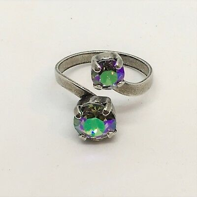 Adjustable Antique Silver Open spiral ring With Genuine Swarovski Crystal Stones