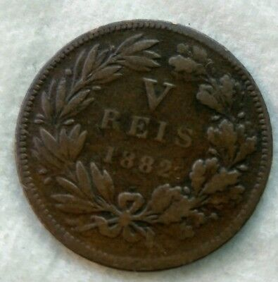 1882 Portugal 5 Reis Foreign Coin