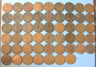 (1861 - 1949) Uk Penny 52 Coins (No Duplicates) Collection Great Britain Lot