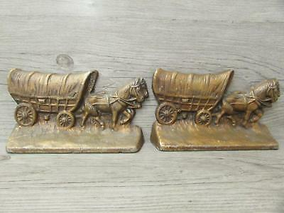 Pair of Vintage Hubley 378 Covered Wagon Bookends Door Stops Cast Iron