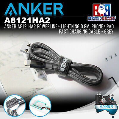 Anker A8121HA2 PowerLine+ Lightning 0.9m iPhone/iPad Fast Charging Cable - Grey