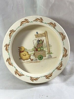 Vintage Royal Doulton BunnyKins Childs Deep Dish. Going To The Hunt Ball. EX.