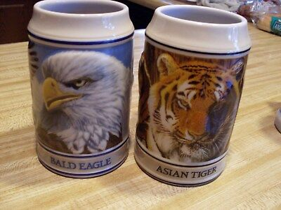 2 Budweiser  Ceramarte Endangered Species Steins ( Asian Tiger & Bald Eagle )