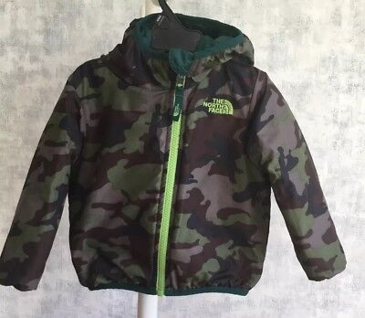North Face  Reversible Full Zip Hooded Jacket, Camo/green, 18-24M