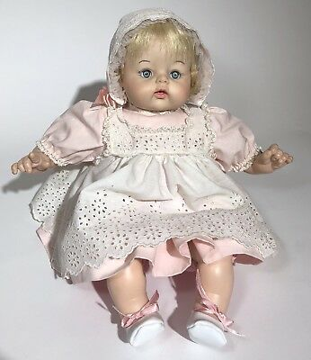 "MADAME ALEXANDER 14"" Baby McGuffey Doll Blonde Blue Eyes Crier Original Dress"