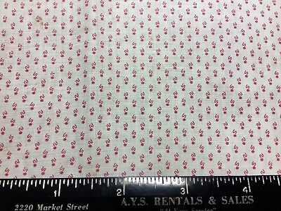"""Antique Cotton Fabric 1880s  Red &White Shirting 20""""w 11""""L"""