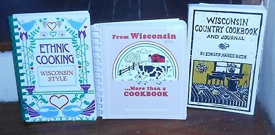 Huge Lot Of 3 Vintage Wisconsin Style Country Ethnic Cook Books Wi Recipes Rare
