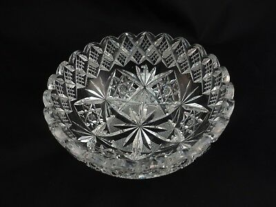 Antique American Brilliant ABP ABCG Cut Glass Signed Hawkes Bowl Dish