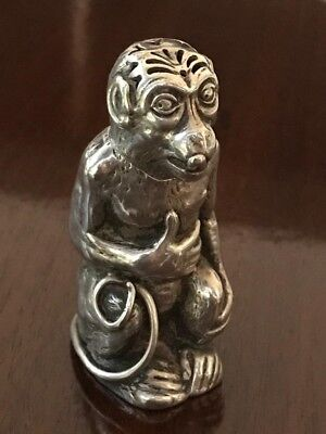 Rare Victorian Silver Novelty Seated Monkey Pepperette