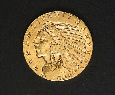 Five Dollar $5 American  Half Eagle  Indian Head Gold Coin 1909