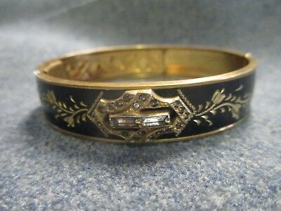 Antique Victorian Mourning Black and Gold Plated Cuff Bracelet bangle