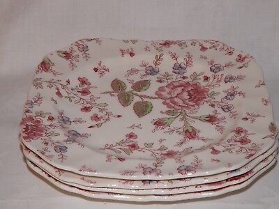 Johnson Bros. Rose Chintz*Square Salad Plates*England*Pink*Green*Blue*12