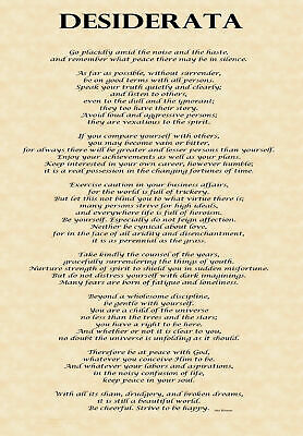 Desiderata on A3 Poster, High Quality Gloss 150gsm Paper, 297 x 420mm