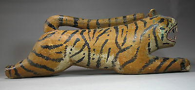 A Very Rare/Fine/Large Korean Wood Carved Tiger Painted In Pigment-19th C.: