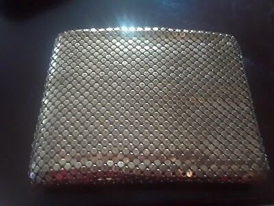 RARE Vintage Gold Mesh Folding Wallet billfold Coin Purse
