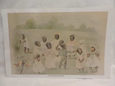 "Edmund Marion Ashe Art Print ""Ring Around The Roses"" 1889 Black Americana"