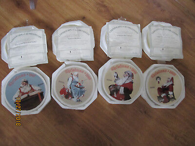 Lot of 4 Norman Rockwell Knowles Christmas collector Plates 1997 1998 1999  2000
