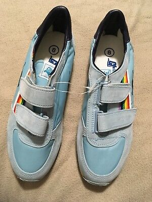Vintage Retro Velcro CHEETAH Shoes Running Baby Blue Rainbow 8 Cool Funky Trendy