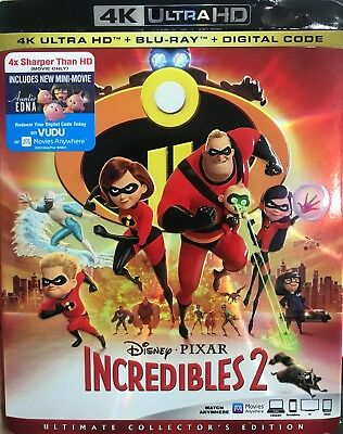 Incredibles 2 4K Ultra HD 4K + Blu ray + Digital HD & Slipcover New Free Shiping