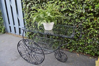 Vintage/Mid Century rolling wrought iron cart glass bar/great garden piece !