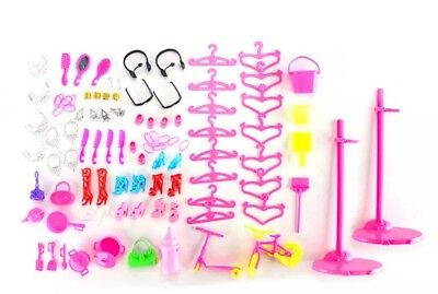 100 pcs Party Daily Wear Outfits Shoes Bag Jewelry for Barbie Doll Random Gift