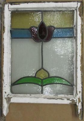 "EDWARDIAN ENGLISH LEADED STAINED GLASS SASH WINDOW Floral Band 18"" x 22.25"""