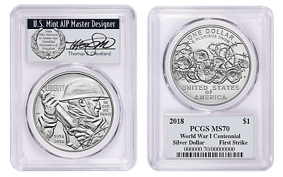 2018-P $1 World War I Centennial Silver MS70 First Strike THOMAS CLEVELAND