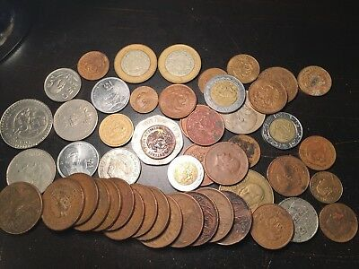 Lot Of 50 Coins From Mexico,centavos And Pesos,nice Coins,take A Look!!!!!!!!!!!
