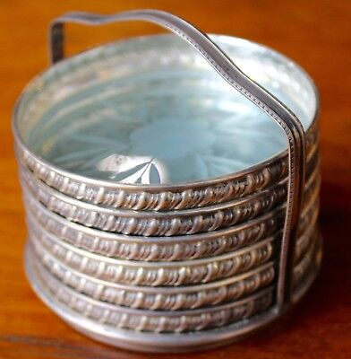 Antique Sterling Silver And Glass Set 6 Coasters In Stand Perfect Condition