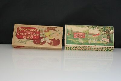 Vintage Rockwood Hollow Chocolate Eggs Candy Carton Boxes Set Of 2
