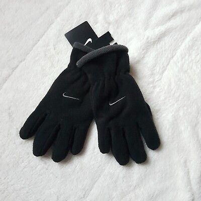 New Nike Boys Youth One Size 8-20 Microfleece Gloves Gray
